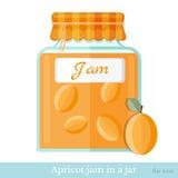 De vlakke kruik van het pictogramglas abrikozenjam Royalty-vrije Stock Foto's