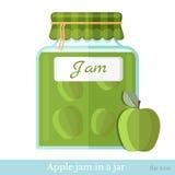 De vlakke kruik van het pictogramglas appeljam Stock Afbeeldingen