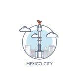 De vlakke lijn deisgned pictogram - Mexico-City vector illustratie