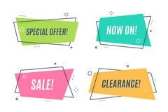 De vlakke lineaire banner van het bevorderingslint, rol, prijskaartje, sticker, Royalty-vrije Stock Foto's
