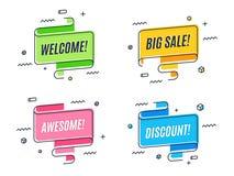 De vlakke lineaire banner van het bevorderingslint, rol, prijskaartje, sticker Royalty-vrije Stock Foto's