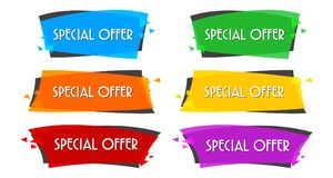 De Vlakke Lineaire banner van de speciale aanbiedingverkoop voor uw bevorderingsontwerp Stock Foto