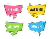 De vlakke lineaire banners van het bevorderingslint, prijskaartjes, stickers Royalty-vrije Stock Afbeelding