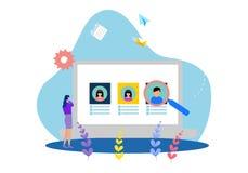 De vlakke malplaatjes van de ontwerpwebpagina van online rekruteringsbaan vector illustratie