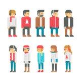 De vlakke mensen van de ontwerpwinter Stock Fotografie