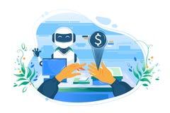 De vlakke mensenhand met elektronisch geld tegenover de hulp van de kassierss robot betaalt royalty-vrije illustratie