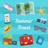 De vlakke moderne vectorillustratie van de ontwerpstijl van de zomer reizende elementen Royalty-vrije Stock Fotografie