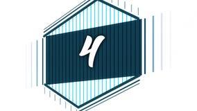 De vlakke morphing animatie van de motiegrafiek voor het openen van video Animatie van nummer vier stock illustratie