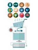 De vlakke ontwerp marketing illustratie met computer werkt met boodschappenwagentje en reeks pictogrammen samen Royalty-vrije Stock Fotografie