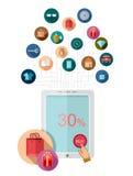 De vlakke ontwerp marketing illustratie met tablet werkt met reeks pictogrammen samen Royalty-vrije Stock Foto