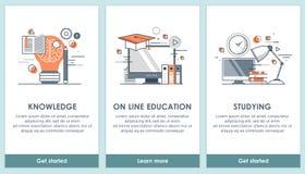 De vlakke ontwerp onderwijsapp schermen Modern gebruikersinterface UX, UI-het schermmalplaatje voor mobiele slimme telefoon of on vector illustratie