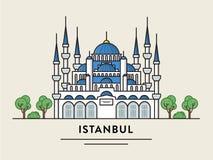 De vlakke ontwerpillustratie van Istanboel Turkije detailleerde silhouet Stock Afbeelding