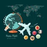 De vlakke ontwerpillustratie van toerisme en reis, de bol en het vliegtuig vliegen op ander deel van wereld Royalty-vrije Stock Afbeeldingen