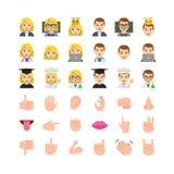De vlakke ontwerpmensen emoticon plaatsen stock illustratie