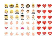 De vlakke ontwerpmensen emoticon plaatsen royalty-vrije illustratie