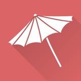 De vlakke paraplu van het ontwerpstrand Stock Foto