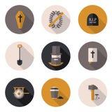 De vlakke pictogrammen begrafenisdiensten Royalty-vrije Stock Afbeeldingen