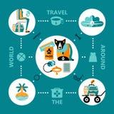 De vlakke pictogrammen die van de ontwerpstijl met huisdier reizen royalty-vrije illustratie