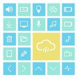 De vlakke pictogrammen regelen groenachtig blauwe, vlakke pictogrammen, Webpictogrammen Stock Foto