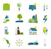 De Vlakke Pictogrammen van de Ecoenergie Stock Foto