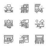De vlakke pictogrammen van de lijnbungalow Stock Foto's