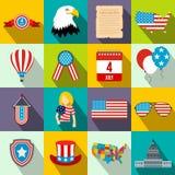 De vlakke pictogrammen van de onafhankelijkheidsdag stock illustratie