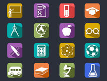 De vlakke pictogrammen van de onderwijs lange schaduw Stock Afbeeldingen