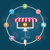 De vlakke pictogrammen van de ontwerp vectorillustratie van elektronische handelsymbolen, marketing die, online winkelen vector illustratie