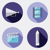 De vlakke pictogrammen van de ontwerpcreativiteit met lange schaduw 3 Royalty-vrije Stock Afbeelding