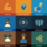 De vlakke pictogrammen van de ontwerplijn van wijsheid, kennis, verbeelding - conce Stock Fotografie