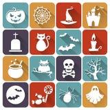 De vlakke pictogrammen van Halloween Beeldverhaal polair met harten Stock Afbeeldingen
