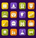 De Vlakke Pictogrammen van Halloween met Lange Schaduwen Royalty-vrije Stock Foto's
