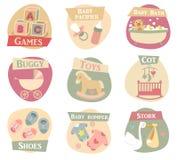 De vlakke pictogrammen van het babyleven stock foto