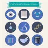 De vlakke pictogrammen van het ontwerp wetenschappelijke onderzoek Royalty-vrije Stock Foto's