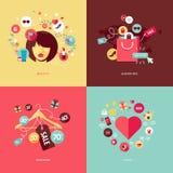 De vlakke pictogrammen van het ontwerpconcept voor schoonheid en het winkelen Stock Afbeelding
