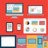De vlakke pictogrammen van het ontwerpconcept voor Web en de mobiele diensten en apps Stock Afbeelding