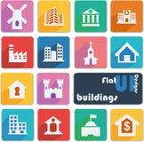 De vlakke pictogrammen van het uiontwerp gebouwen Stock Fotografie