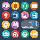 De vlakke pictogrammen van het uiontwerp multimedia Stock Foto