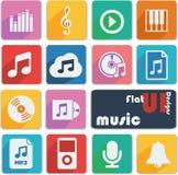De vlakke pictogrammen van het uiontwerp - Muziek Royalty-vrije Stock Afbeeldingen