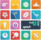 De vlakke pictogrammen van het uiontwerp - Sport Stock Foto