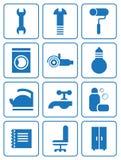 De vlakke pictogrammen van huishoudentoebehoren Stock Foto's