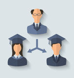 De vlakke pictogrammen van leraar en zijn studenten hebben van U een diploma behaald Stock Foto