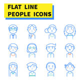 De vlakke pictogrammen van lijnmensen Stock Foto