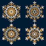 De vlakke pictogrammen van de lijnsneeuw, het silhouet van sneeuwvlokken vector illustratie