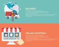 De vlakke pictogrammen van de ontwerp vectorillustratie van elektronische handelsymbolen, Internet-het winkelen elementen en voor stock illustratie