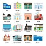 De vlakke pictogrammen van stadsgebouwen op wit vector illustratie