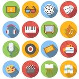 De vlakke pictogrammen van verschillende media Stock Afbeeldingen
