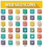 De vlakke pictogrammen van Websiteseo, kleurrijke versie Royalty-vrije Stock Afbeeldingen