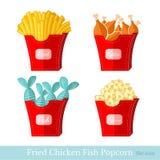 De vlakke popcorn van de kippenvissen van de snel voedsel gebraden aardappel met pak Royalty-vrije Stock Afbeeldingen
