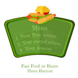 De vlakke raad van het snel voedsel groene menu of banner met hotdog en geïsoleerde frietenbovenkant Stock Foto's